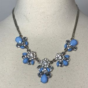 Jewelry - Silvertone Blue and Clear Rhinestone Necklace